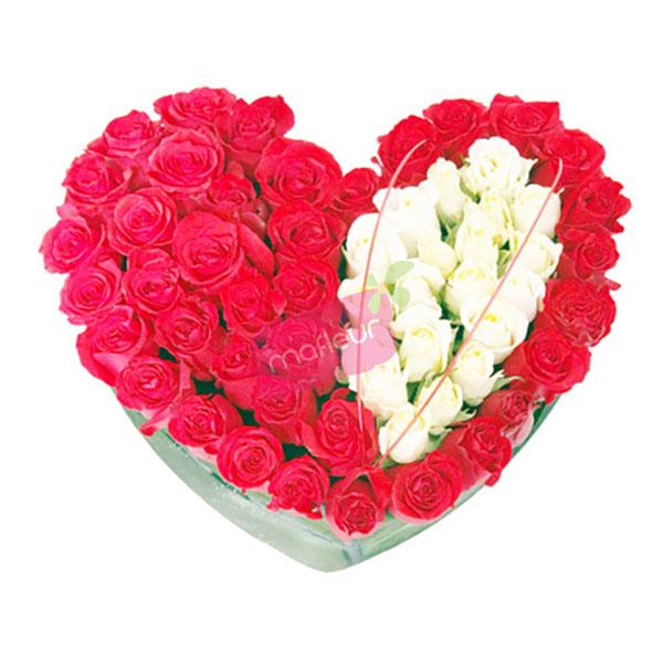 Livraison de fleurs coeur amour absolu mafleur ma - Bouquet de fleur en coeur ...