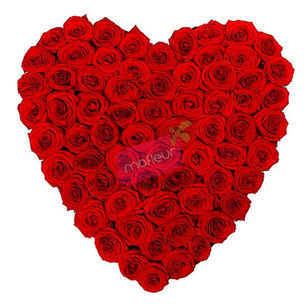 Livraison de fleurs coeur roses rouges mafleur ma maroc - Bouquet de roses en forme de coeur ...