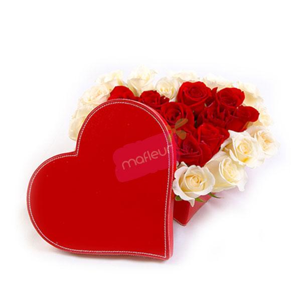 Livraison De Fleurs Coeur Roses En Boite Mafleur Ma Maroc